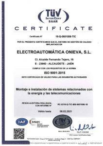 CERTIFICADO ISO 9001 ELECTROAUTOMATICA ONIEVA